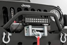 jeep light bar bumper 12in dual or single row led light bar roller fairlead mount 70128