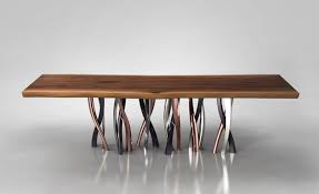 modern pedestal dining table live edge dining table with curvaceous intertwined brass legs live