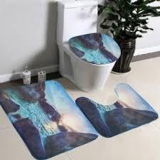 3pcs set super soft flannel toilet seat cover set 3d toilet rug