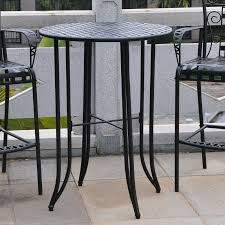 Patio Pub Table 36 Iron Pub Table Set Industrial Iron And Wood Crank Table Rustic