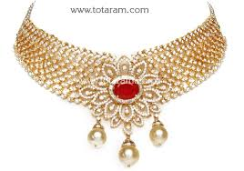 necklace sets designs images 18k gold choker diamond necklace earrings set with ruby ds560 jpg