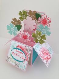 handmade happy birthday flowers card in a box 3d flowers
