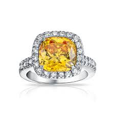 canary engagement ring canary yellow cz cushion cut 925 sterling 3ct engagement ring