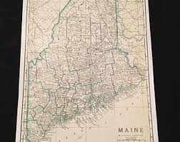 map of maine large map of maine etsy