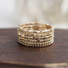 14k solid gold stack ring stackable gold band bead ring