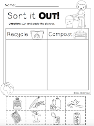 free earth day printables recycling and compost cut and