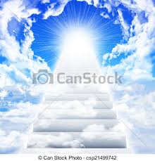 stairs in sky with clouds and sun concept background drawing