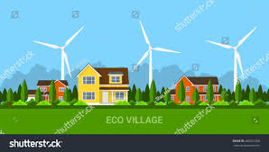 green eco village private cottage houses stock vector 460531498