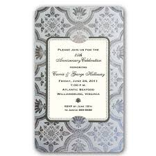 silver foil 25th wedding anniversary invitations paperstyle