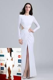 gabrielle union cutout slit white long sleeve prom dress