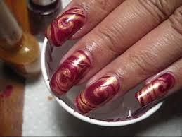 red u0026 gold swirl water marble diy nail art tutorial youtube