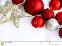 christmas decorations framing snow background stock image image