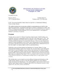 veterans affairs letter exposure to contaminated drinking water