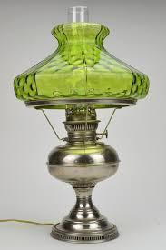 Green Glass L Shade Rayo Antique Nickel Hurricane With Art 16