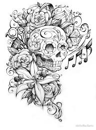 sugar skull with flowers and scissors by michellediann redbubble