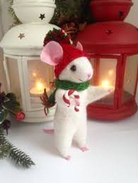 christmas mouse felted mouse wool christmas ornament mouse