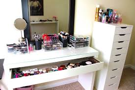 makeup vanity with lights ikea drawers black tri folding oval