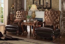 acme dresden 3 piece accent chair table golden brown velvet