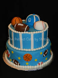 sports baby shower cake for a sports themed baby shower iced in