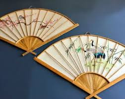oriental fans wall decor japanese wall decor etsy
