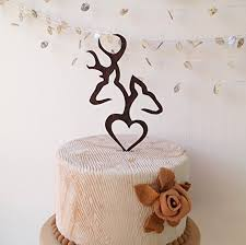 antler cake topper deer cake topper wedding cake topper buck and doe