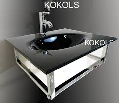 wall mount black vessel sink combo