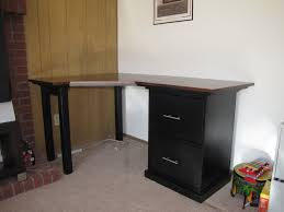 customized diy corner computer desk design with dark wood surface and drawers ideas