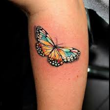 colorful butterfly tattoo design for leg calf