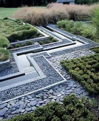 modern garden design with ornamental grasses and rocks outdoor