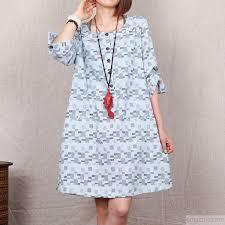 light blue floral 2015 new cotton sundress plus size summer shift
