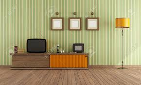 Retro Livingroom by Vintage Living Room With Retro Tv Rendering Stock Photo Picture