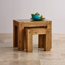 quercus nest of 2 tables in rustic solid oak oak furniture land