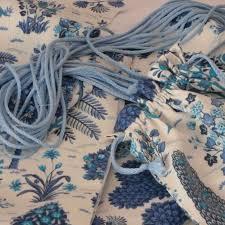 tissu bord de mer mosaïque bleue