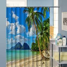 Polyester Shower Curtains 3d Coconut Tree And Scenery Printed Polyester Shower Curtain