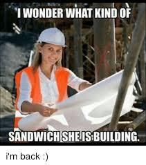 Building Memes - i wonder what kindof sandwich she is building i m back meme on