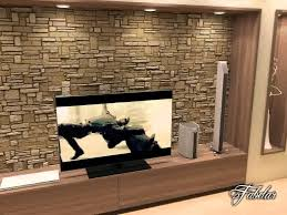 D Model Of Living Room Scene With Rock Wall  YouTube - Rock wall design