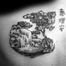 waterfall tattoos black and white tattoo sleeve black bear