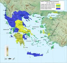 Map Of The World Bc by Map Of Greece Under Theban Hegemony Illustration Ancient