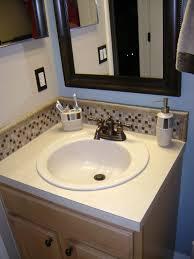 L Shaped Bathroom White And Brown Mosaic Tile Bathroom Sink Backsplash Ideas In L Shaped Jpg