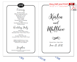 easy wedding program template simple border script wedding program fan cool colors