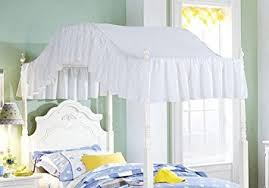 amazon com full size solid white ruffled canopy top home u0026 kitchen