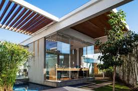 Glass Front House Modern Home Office Applying Clear Glass Front Wall Of Sliding