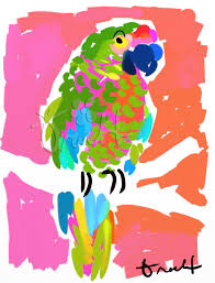 key west parrot artwork beach decor coastal decor nautical