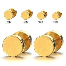 mens gold earrings 2pcs 7mm gold stud earrings men stainless steel