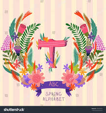 letter t floral hand drawn monogram stock vector 255183244
