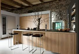 stone wall and wooden ceiling for modern rustic kitchen interior