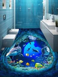 3d ocean floor designs 2018 3d ocean dolphins fishes print floor stickers blue pcs inch