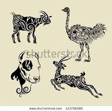 animals floral ornament symbol vector goat ostrich