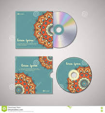 cd cover design template with floral mandala style stock