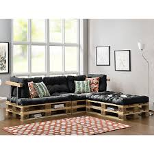 canapé d angle en palette en casa canapé d angle en palettes 3x coussin siège dossier gris